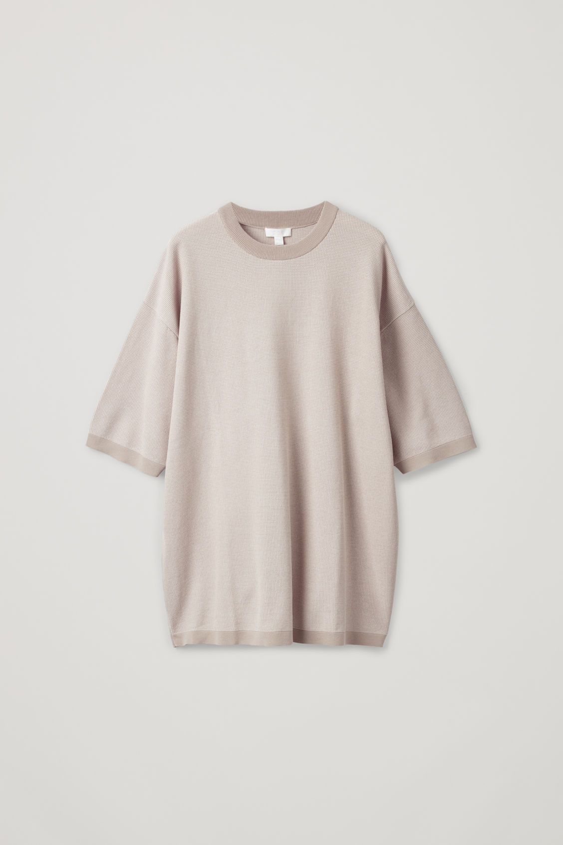 Front image of Cos oversized knitted t-shirt in brown