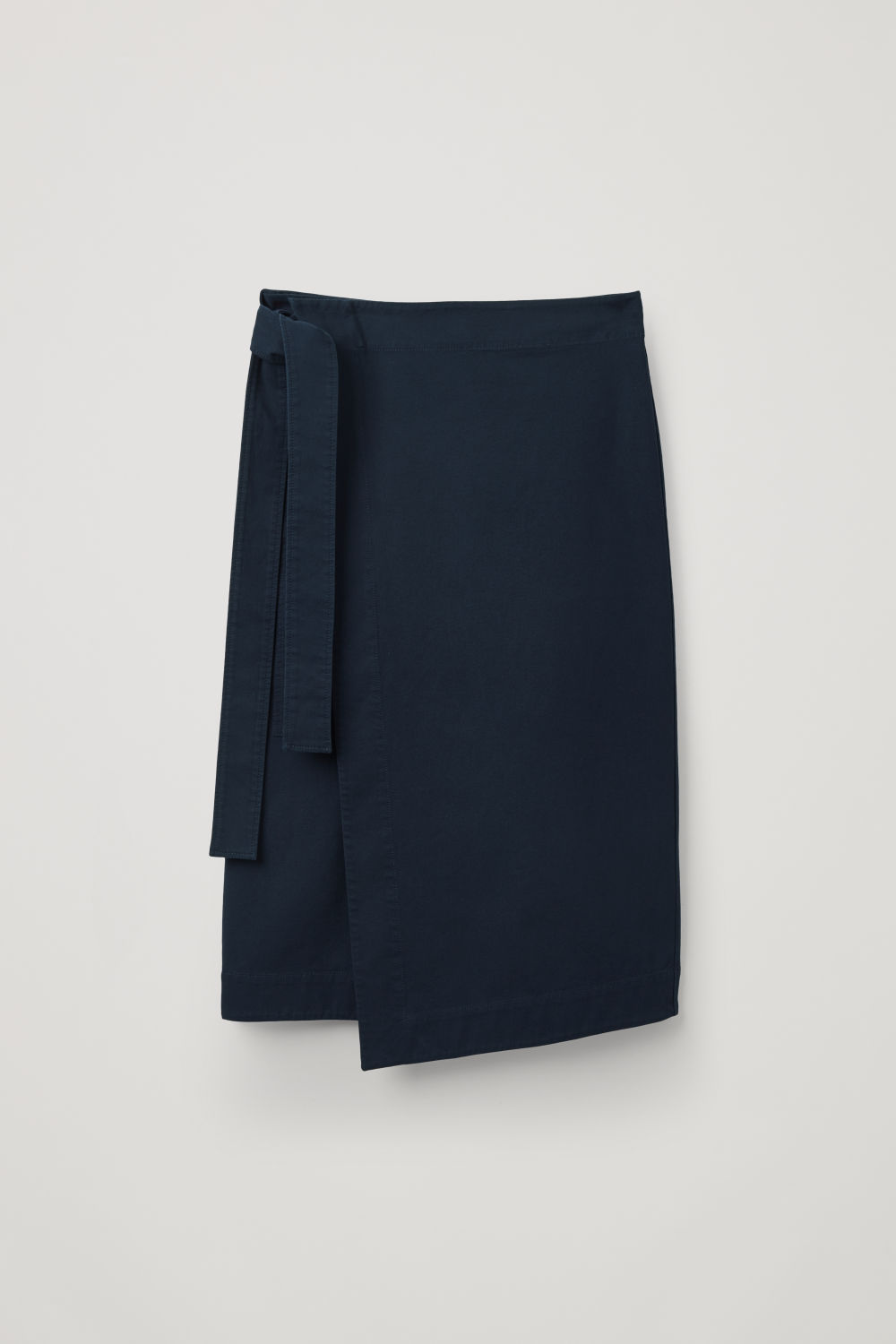 Front image of Cos belted wrap skirt in blue