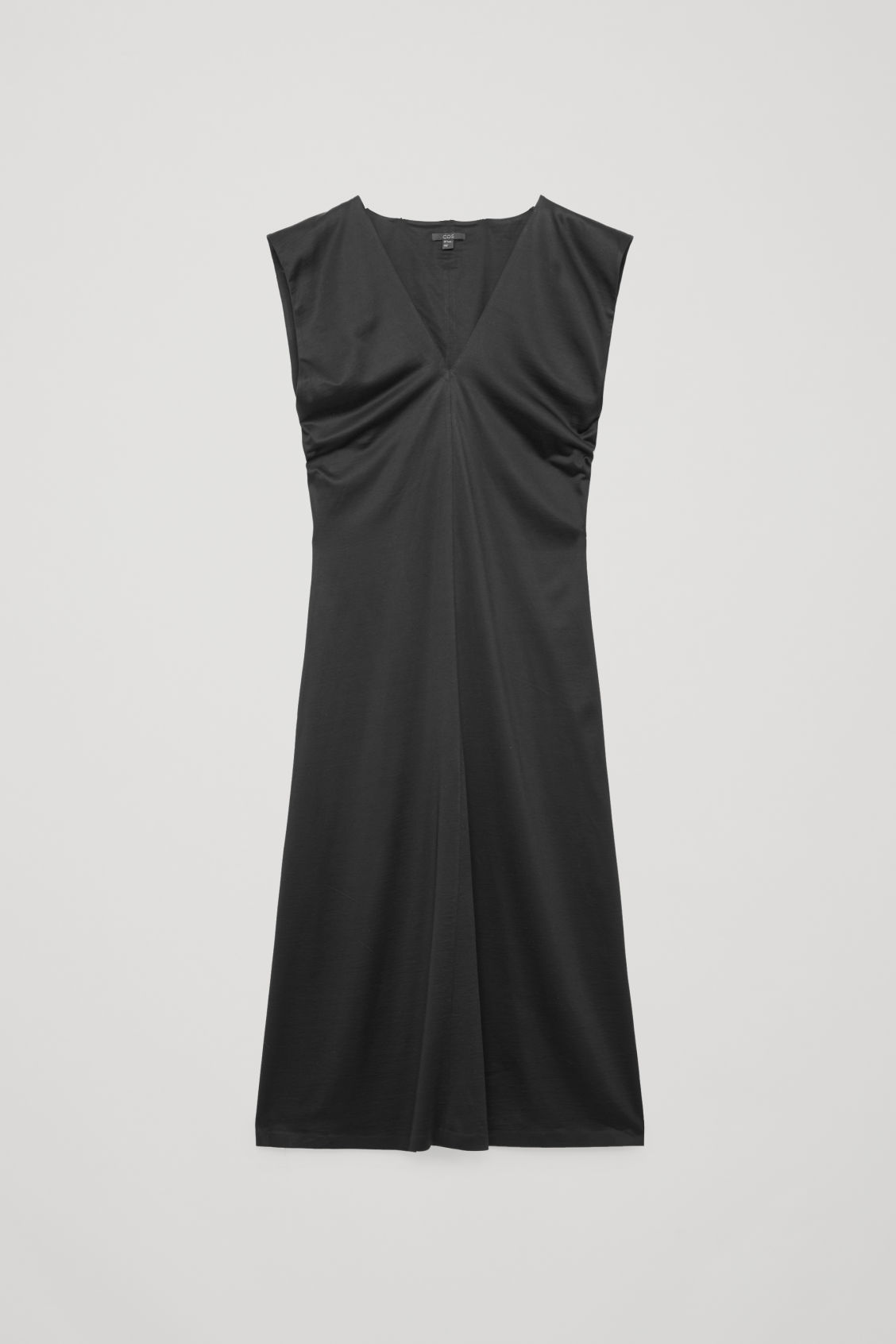 Front image of Cos sleeveless slip dress in black