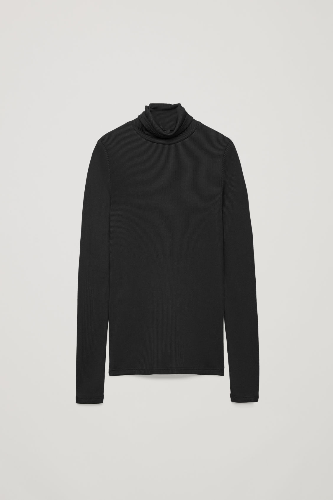 Front image of Cos ribbed high-neck jersey top in black