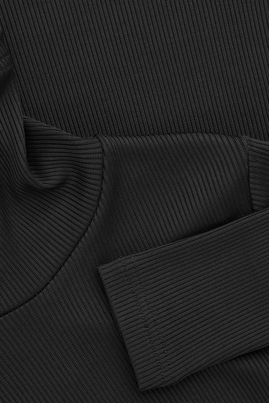 Side image of Cos ribbed high-neck jersey top in black