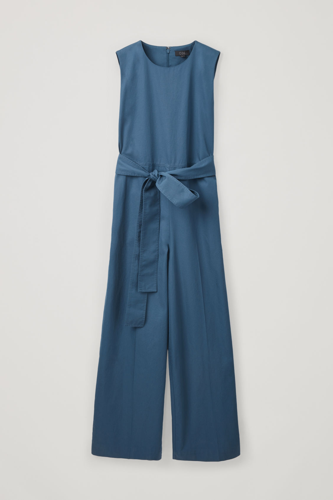Front image of Cos belted wide-leg jumpsuit in blue