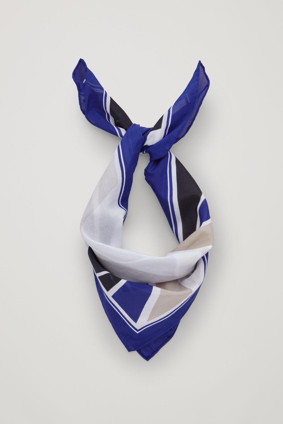Front image of Cos printed silk-mix neckerchief  in blue