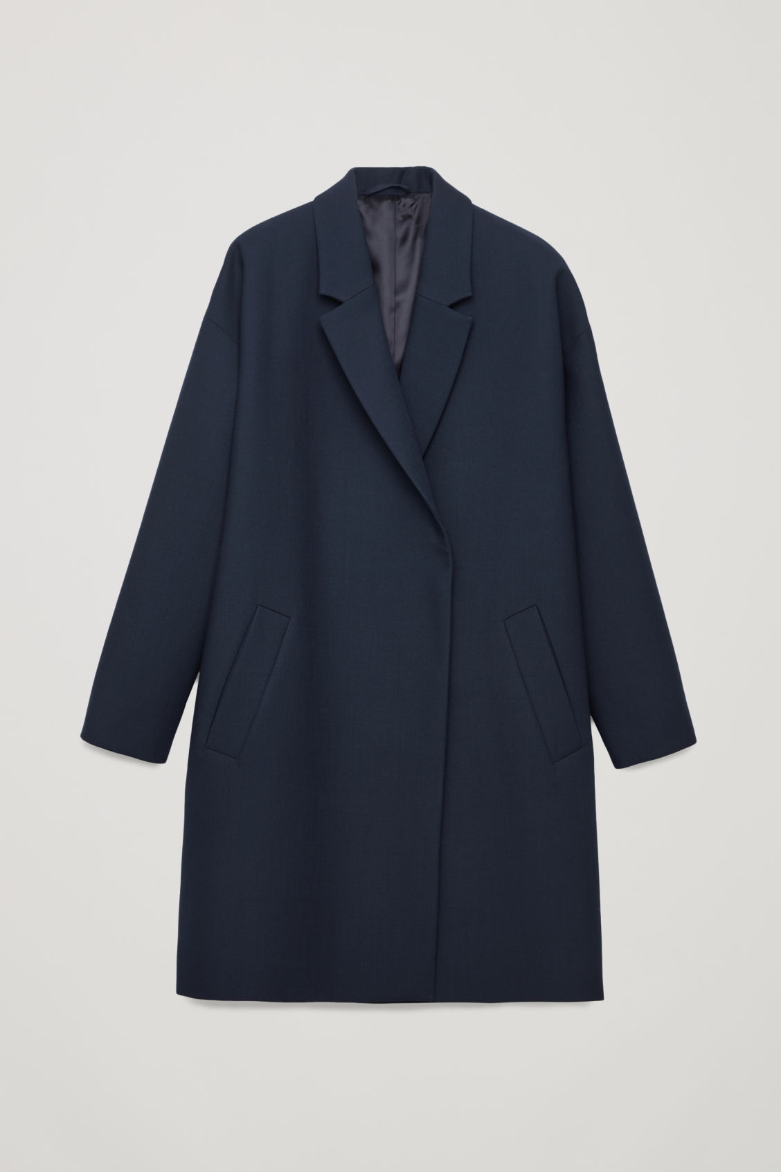 Front image of Cos blazer-style wool coat in blue