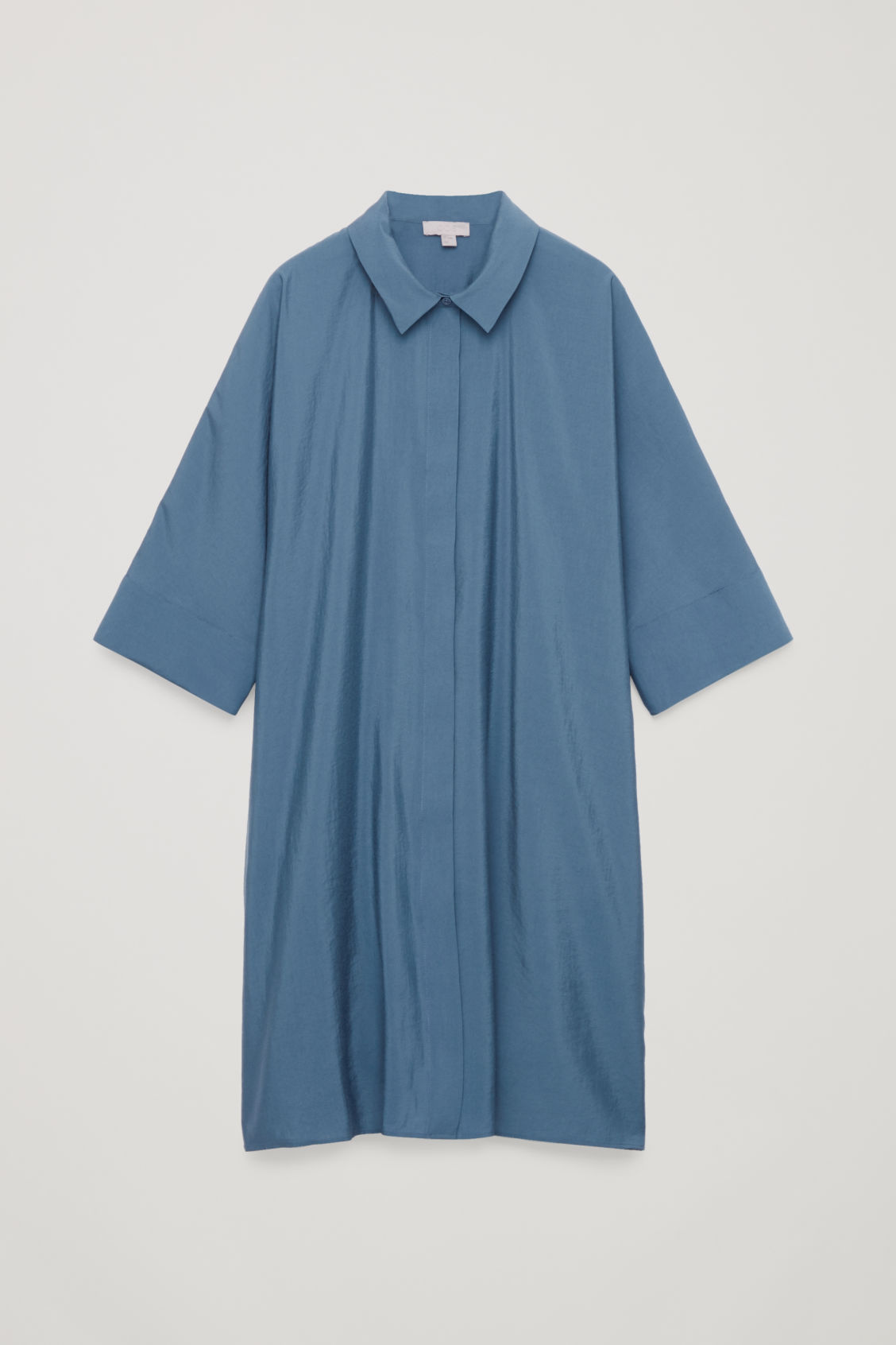 Front image of Cos crinkled woven shirt dress in blue