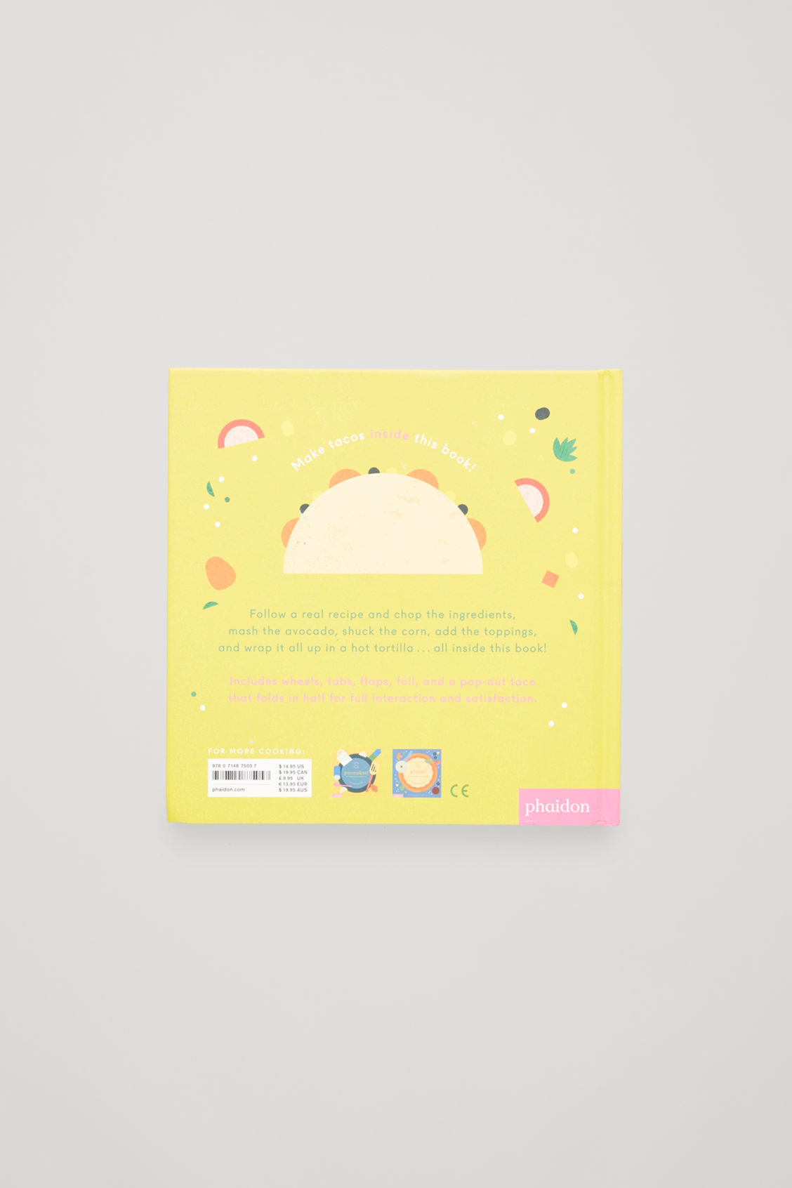 Side image of Cos interactive tacos cookbook  in white