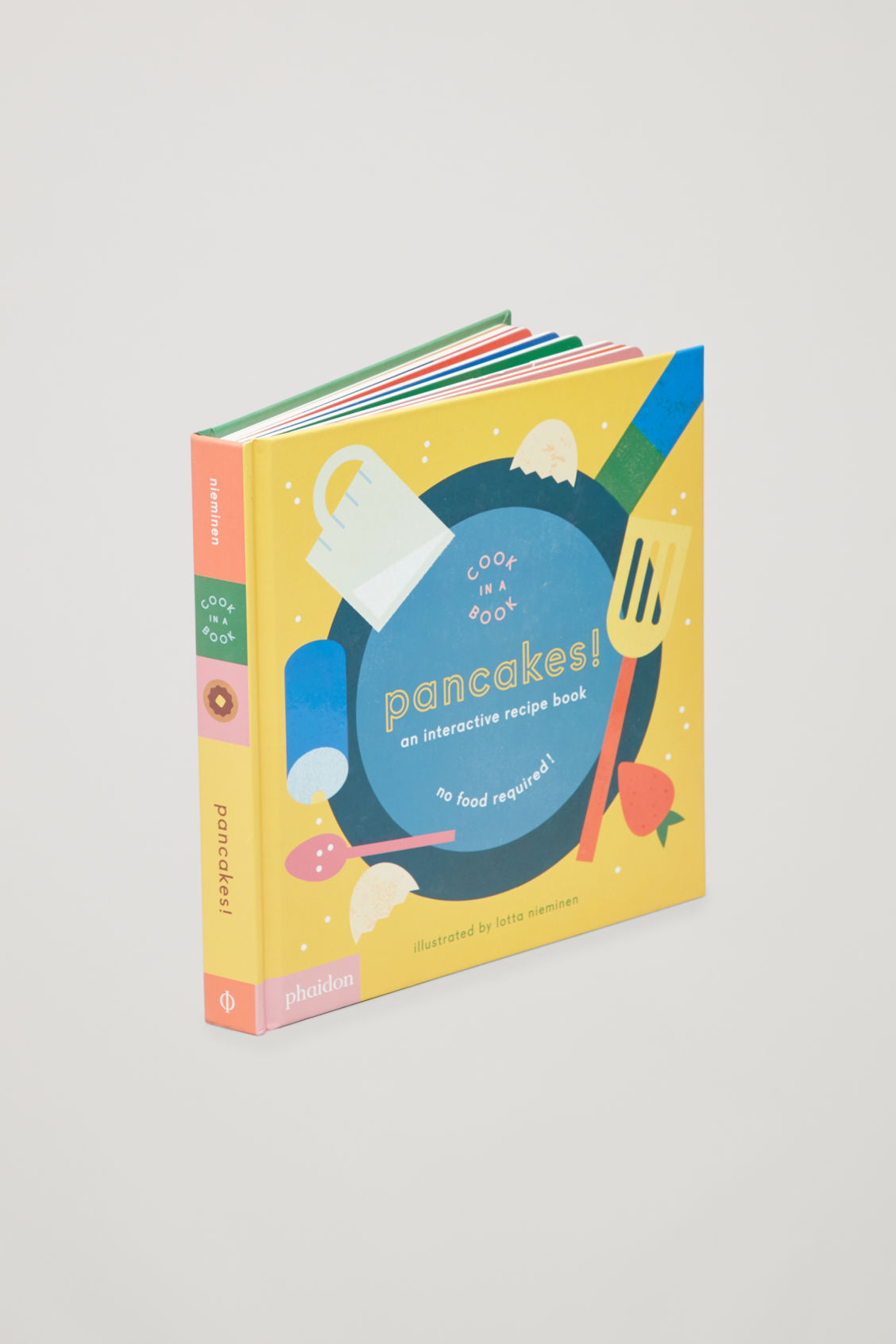 Side image of Cos interactive pancakes cookbook  in white