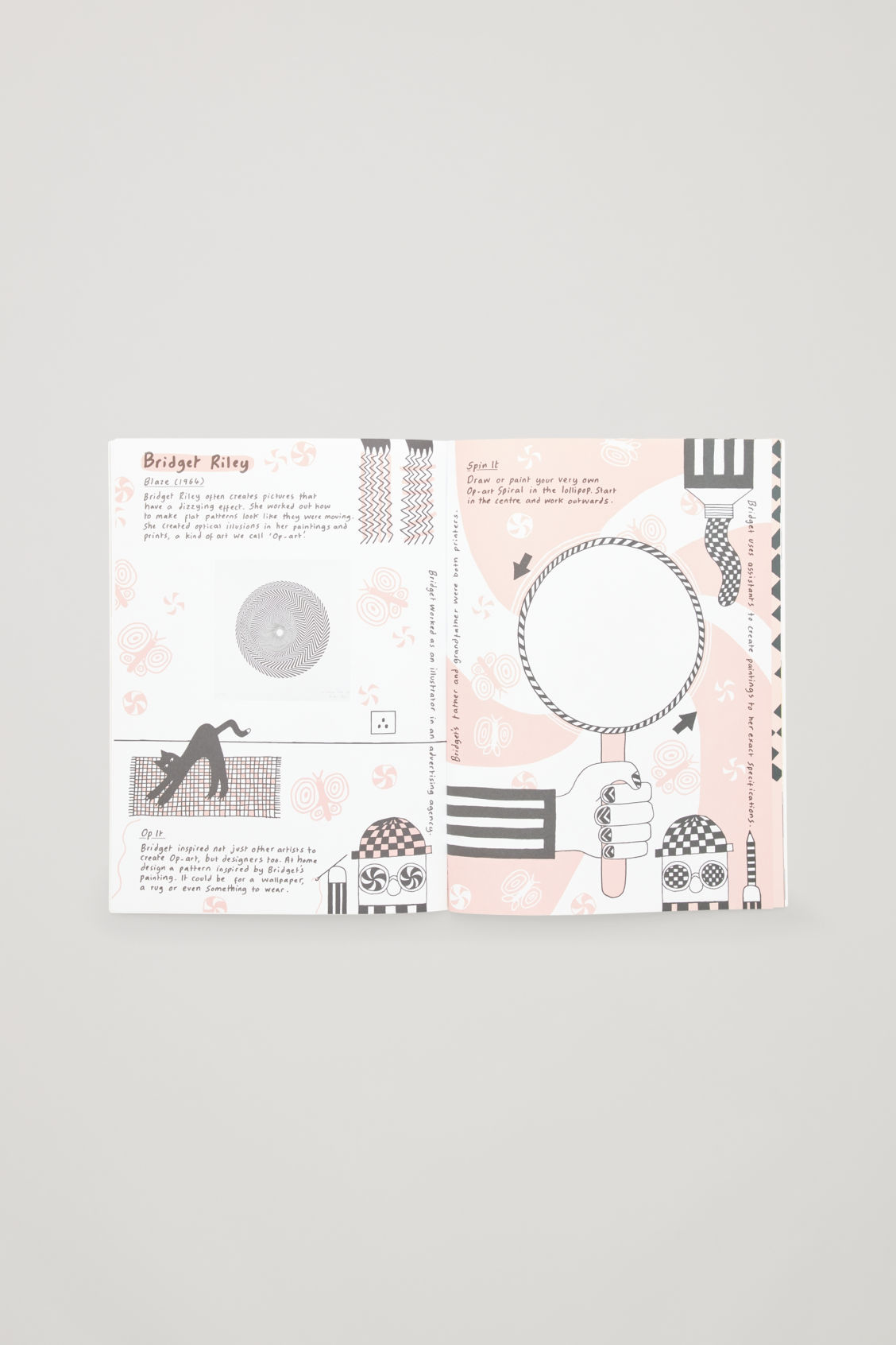 Side image of Cos british art activity book in white