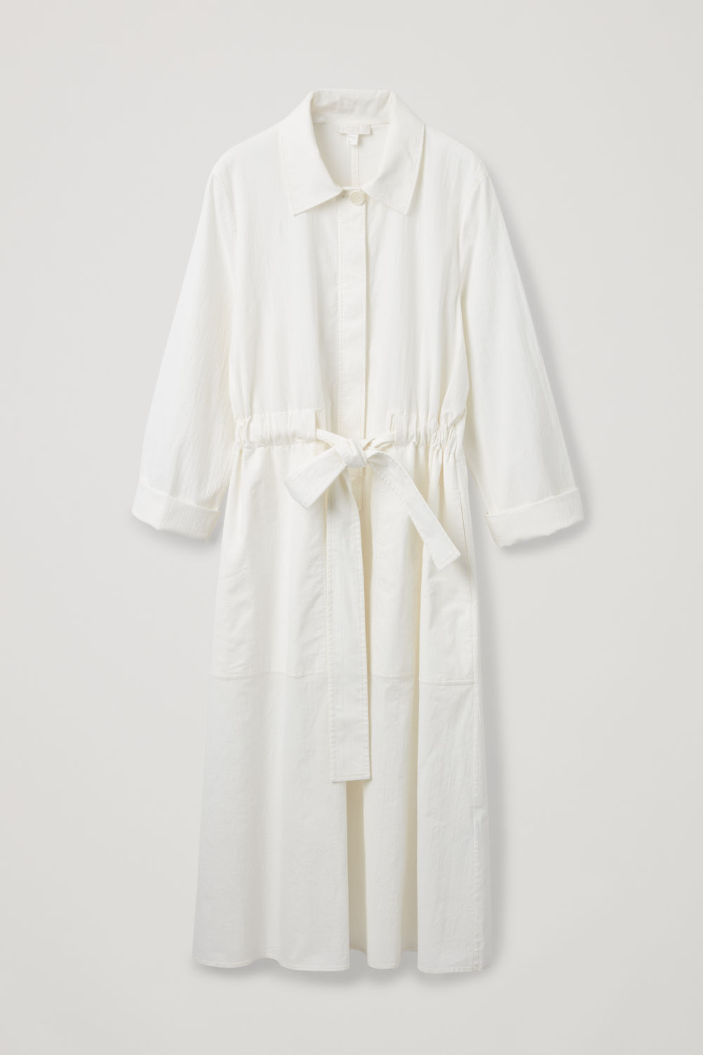 Front image of Cos belted poplin shirt dress in cream