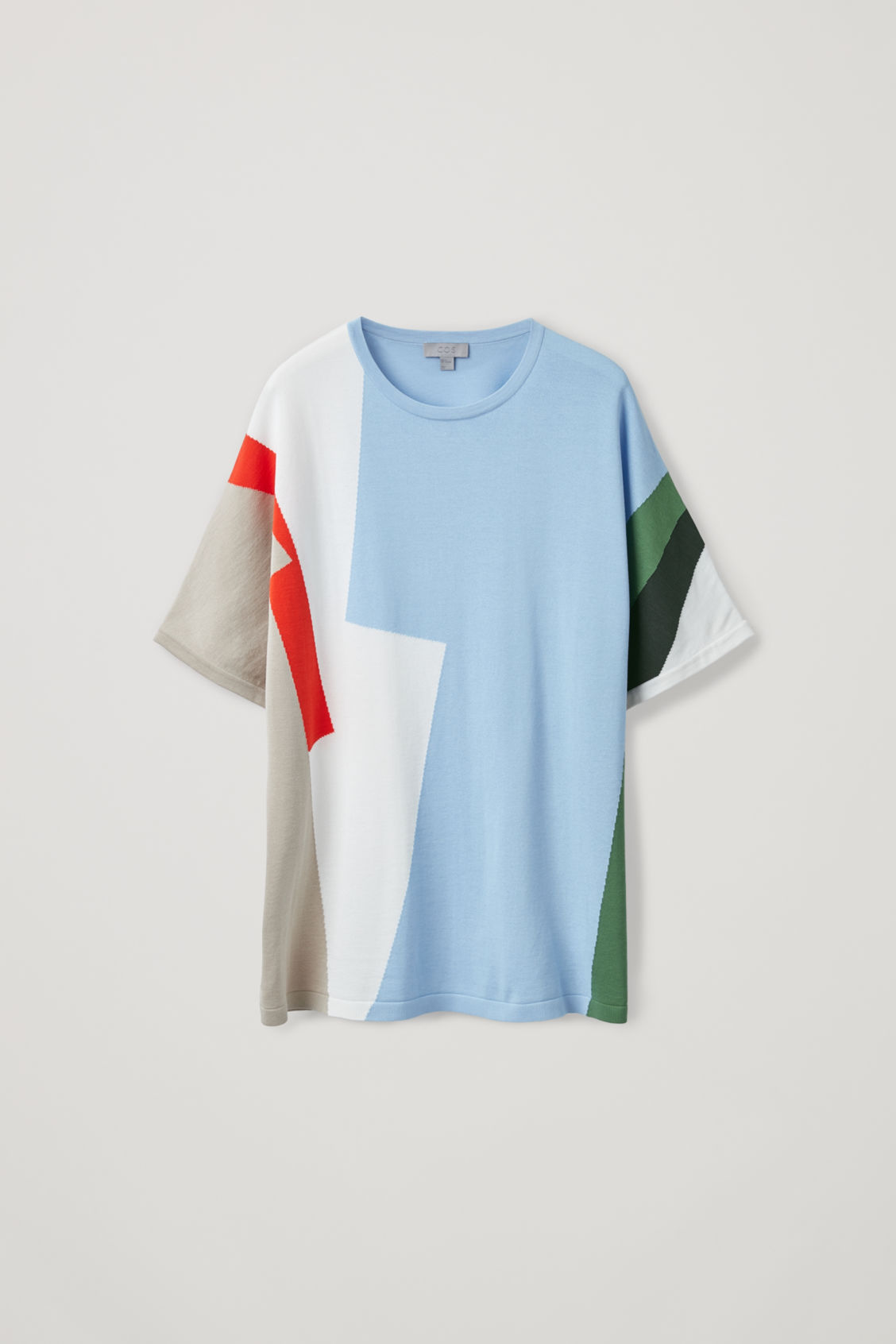Front image of Cos intarsia-knit t-shirt in white