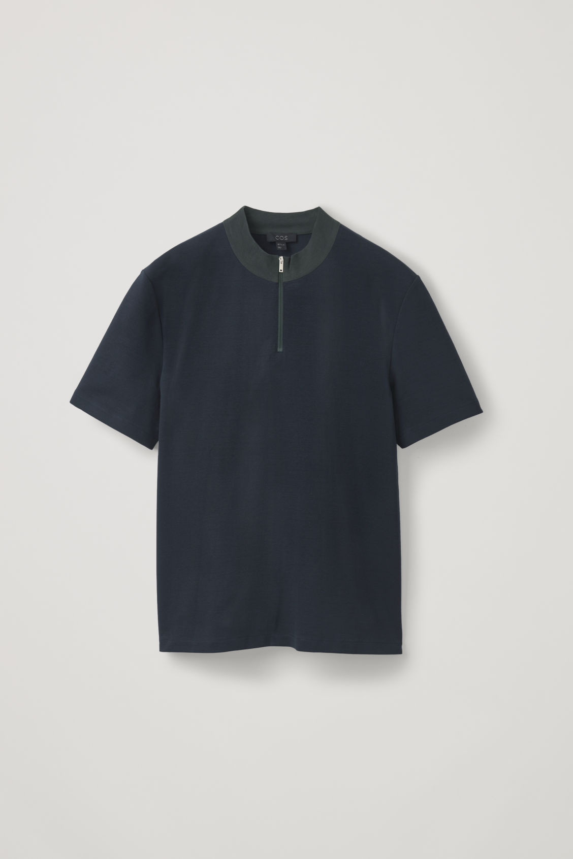 Front image of Cos zipped mock neck t-shirt in blue