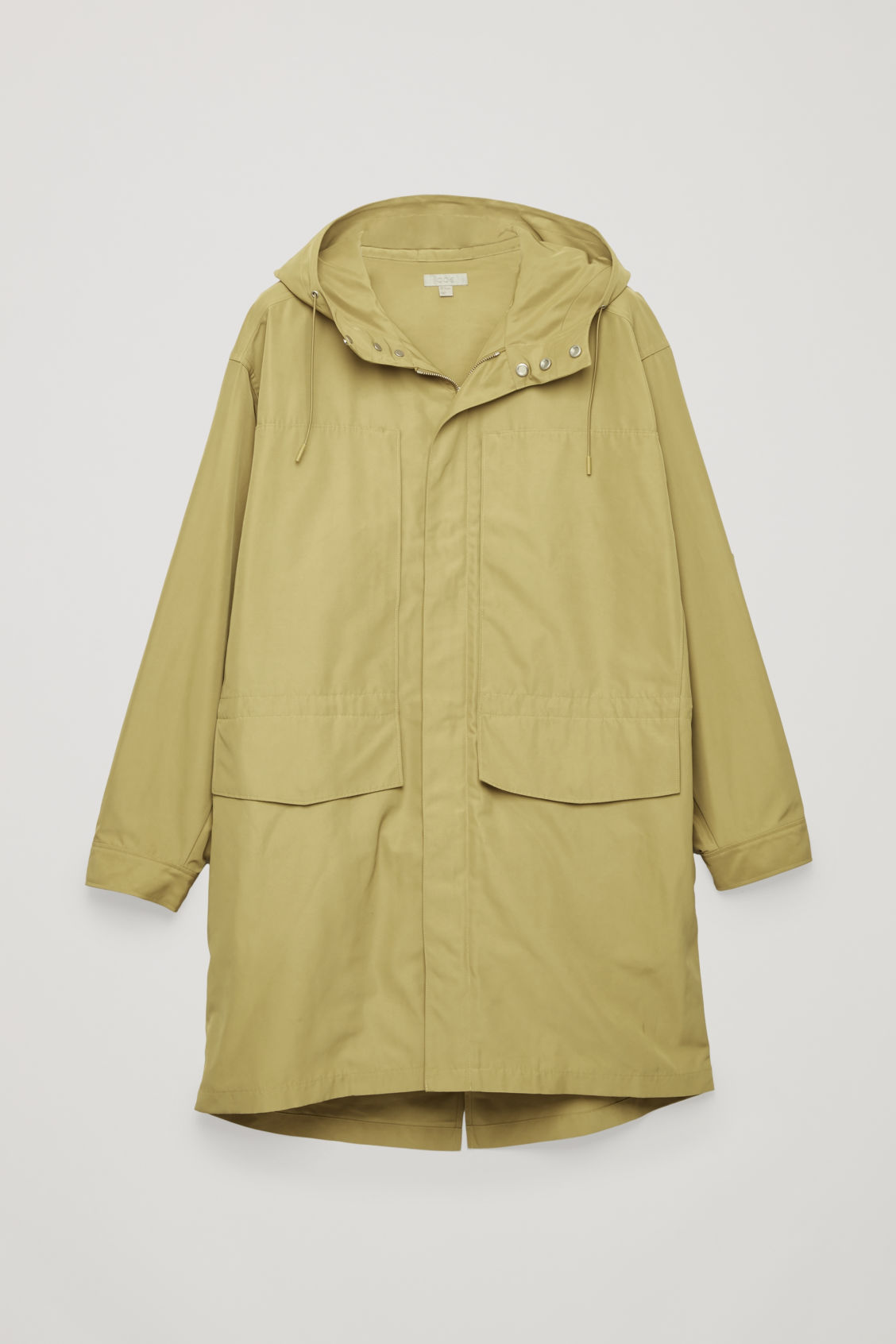 Front image of Cos hooded nylon parka  in yellow