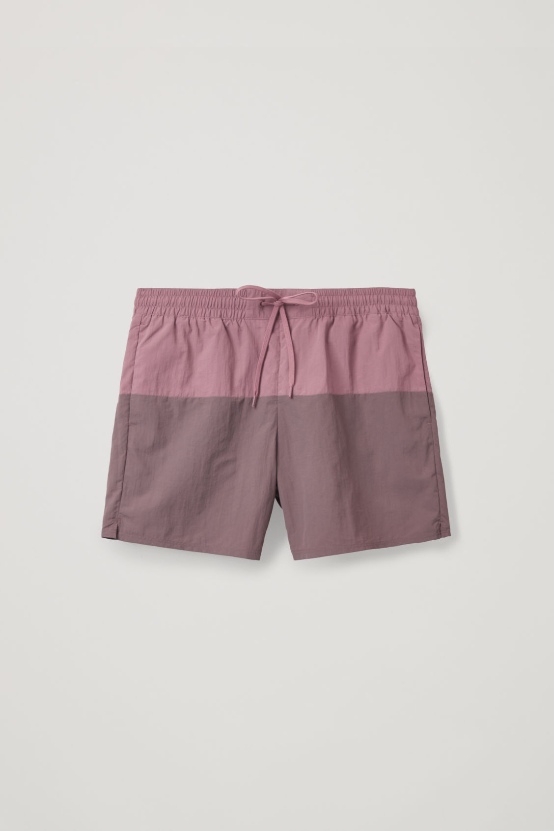 Front image of Cos colour-block swim shorts in purple
