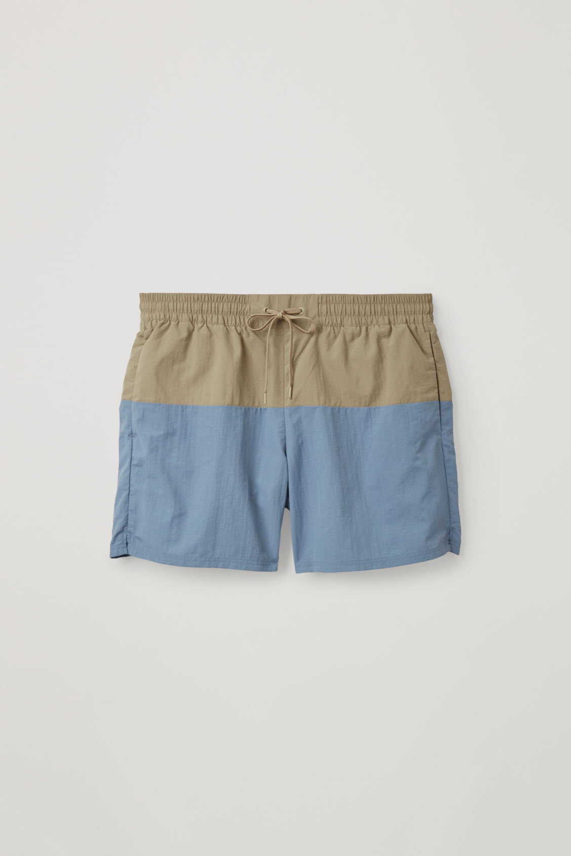 Front image of Cos colour-block swim shorts in blue