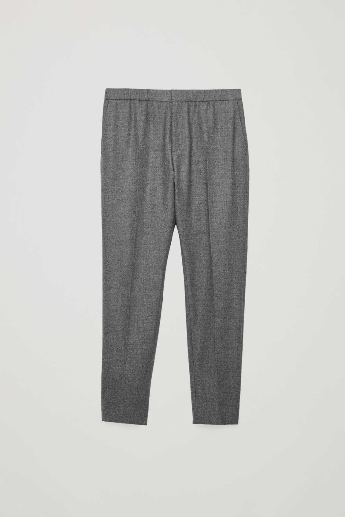 Front image of Cos slim elastic-waist trousers in grey