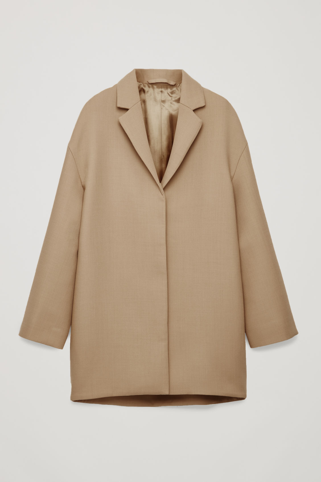 Front image of Cos wool-blend cocoon coat in beige