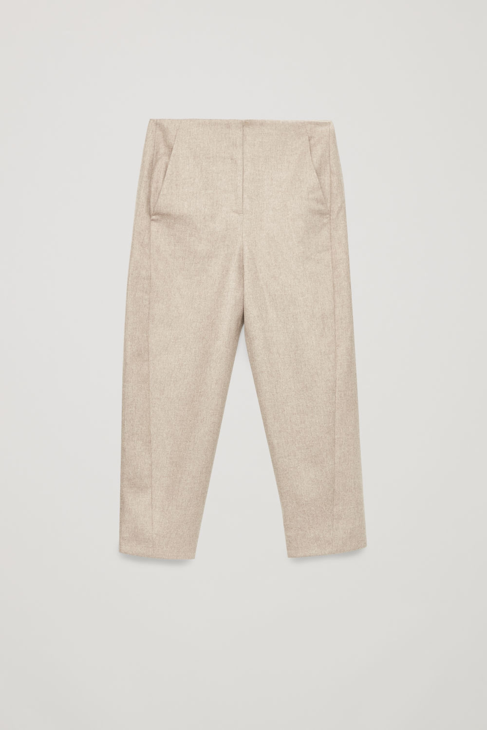 Front image of Cos wool twisted-seam trousers in beige