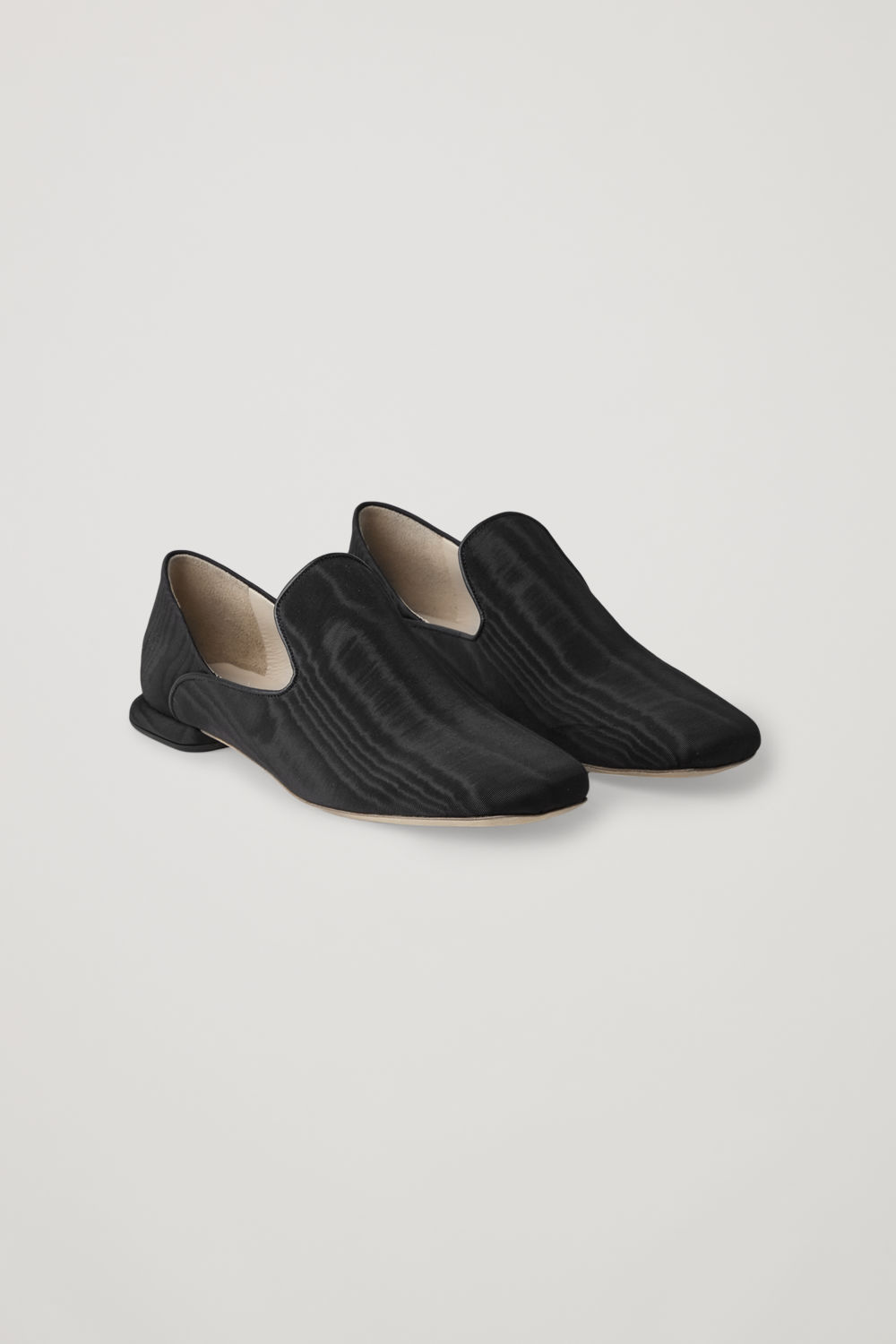 Front image of Cos collapsible-heel moire loafers  in black