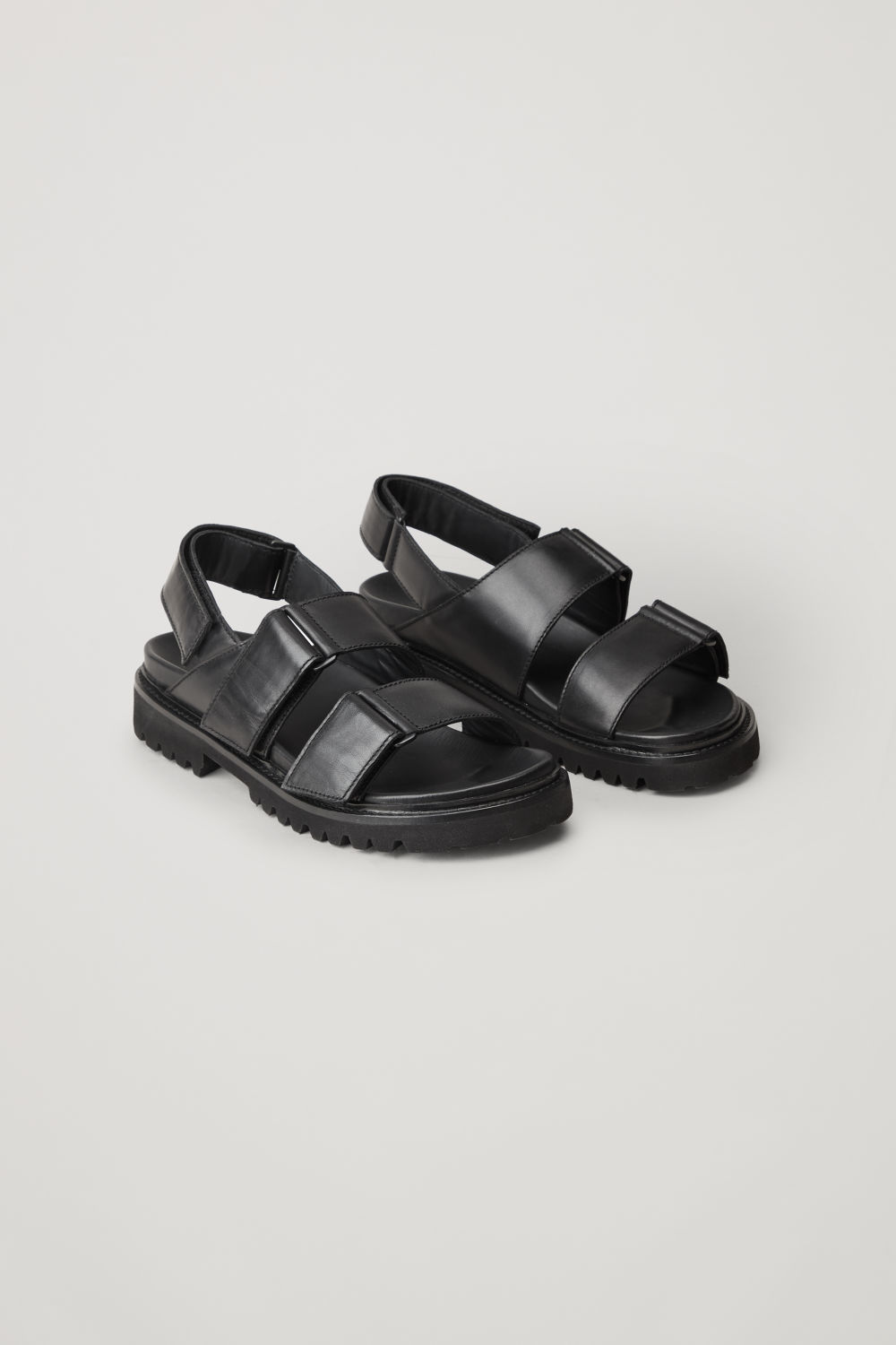 Front image of Cos chunky leather sandals in black