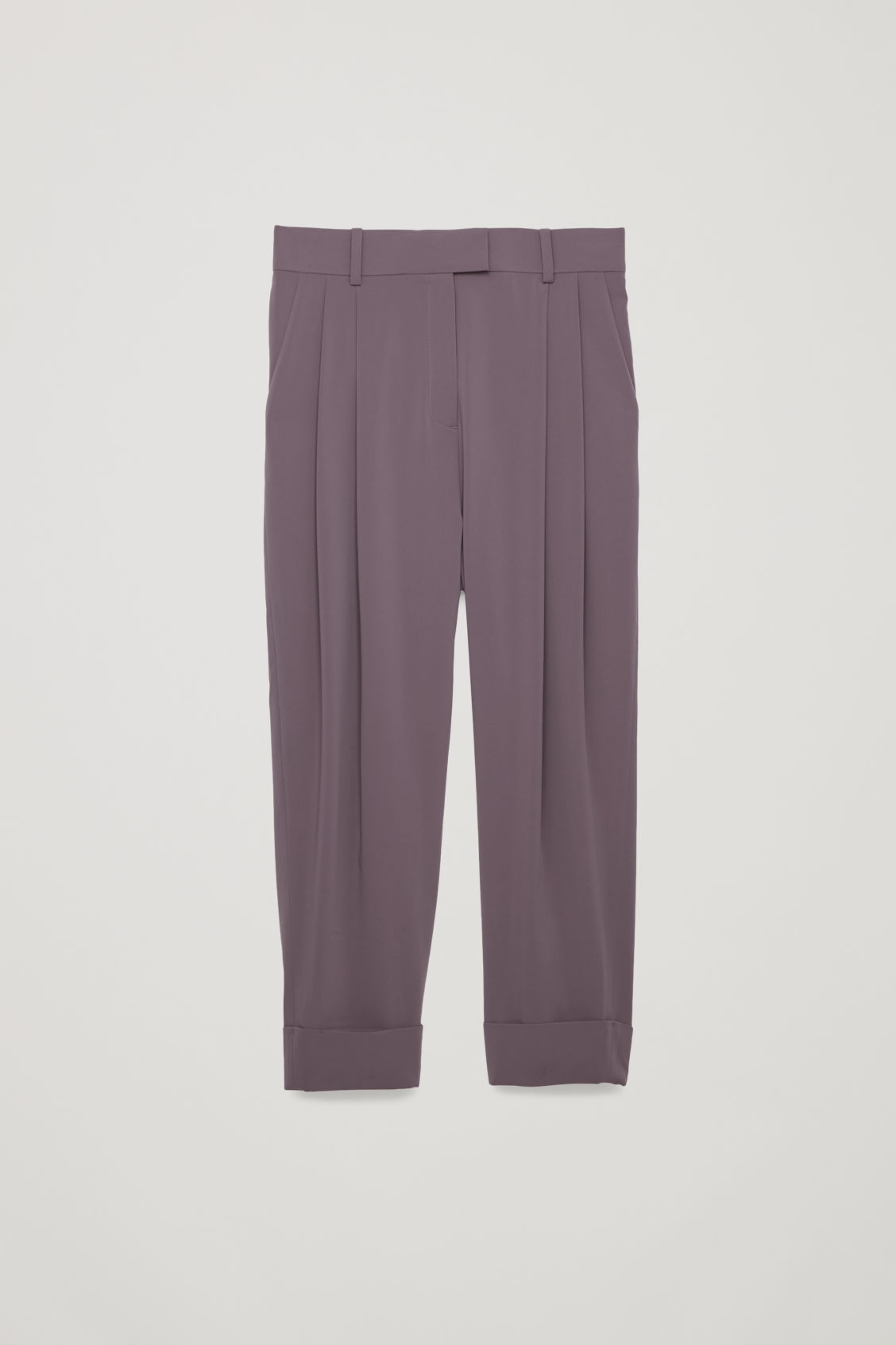 Front image of Cos relaxed pleated trousers in purple