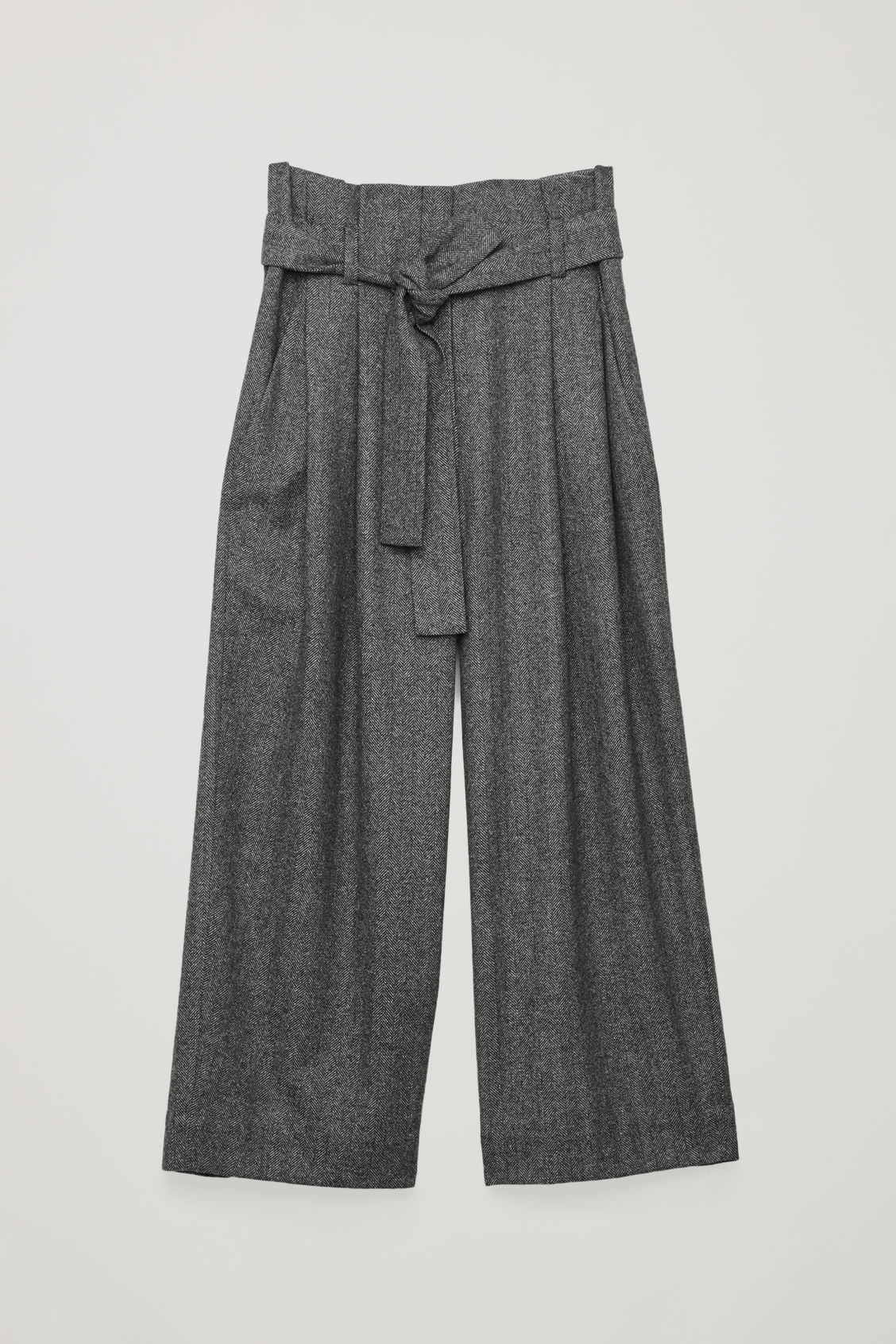 Front image of Cos belted herringbone wool trousers in grey