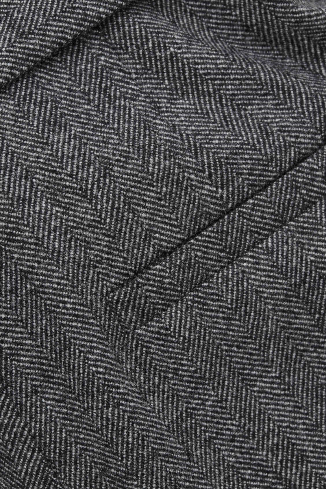 Side image of Cos belted herringbone wool trousers in grey