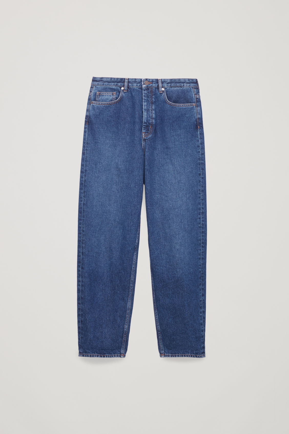 Front image of Cos tapered leg jeans in blue