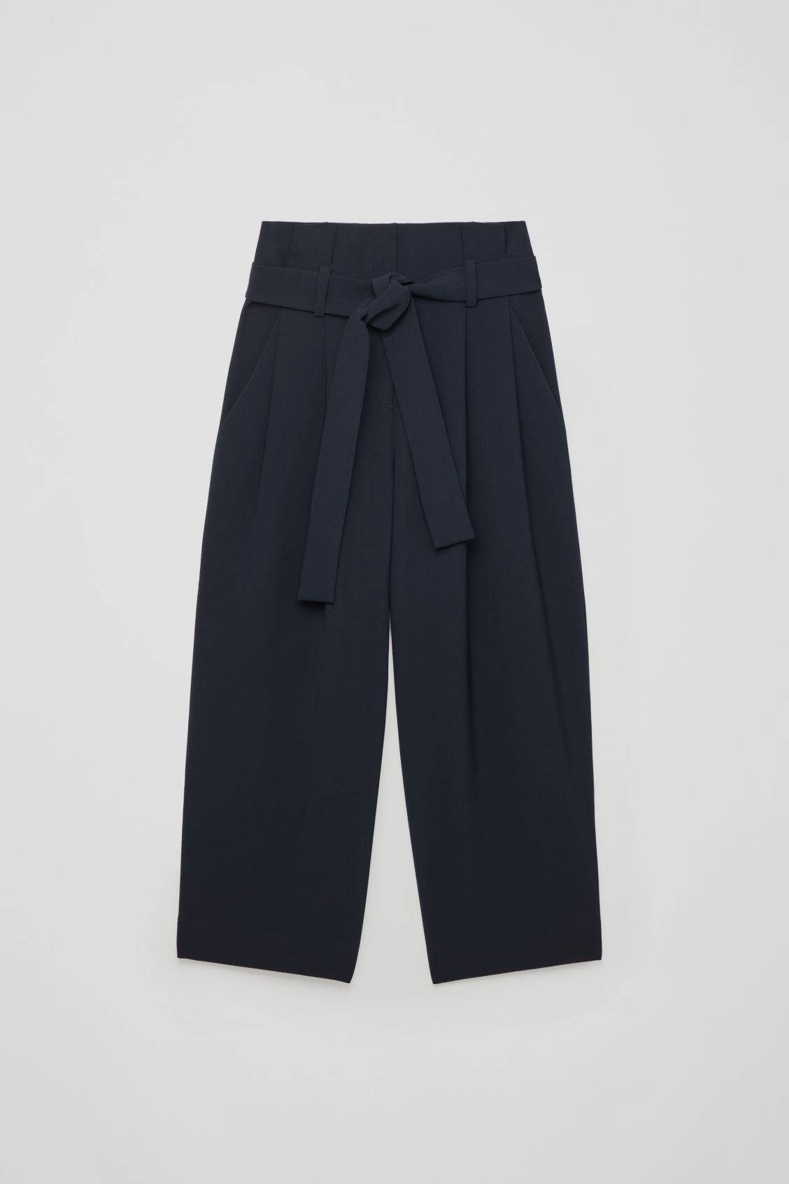 Front image of Cos belted paperbag culottes in blue