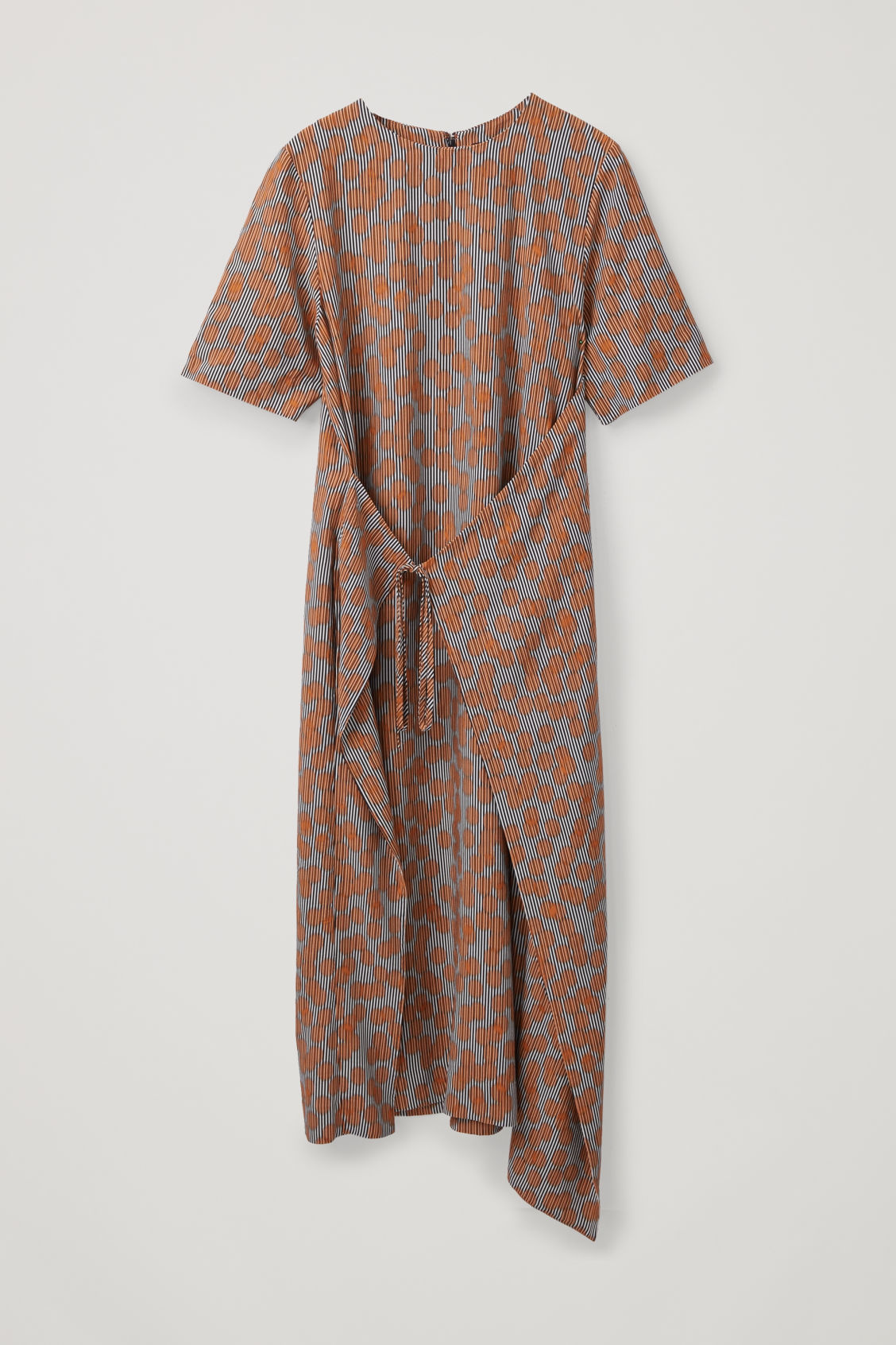 Front image of Cos printed asymmetric tie dress in orange