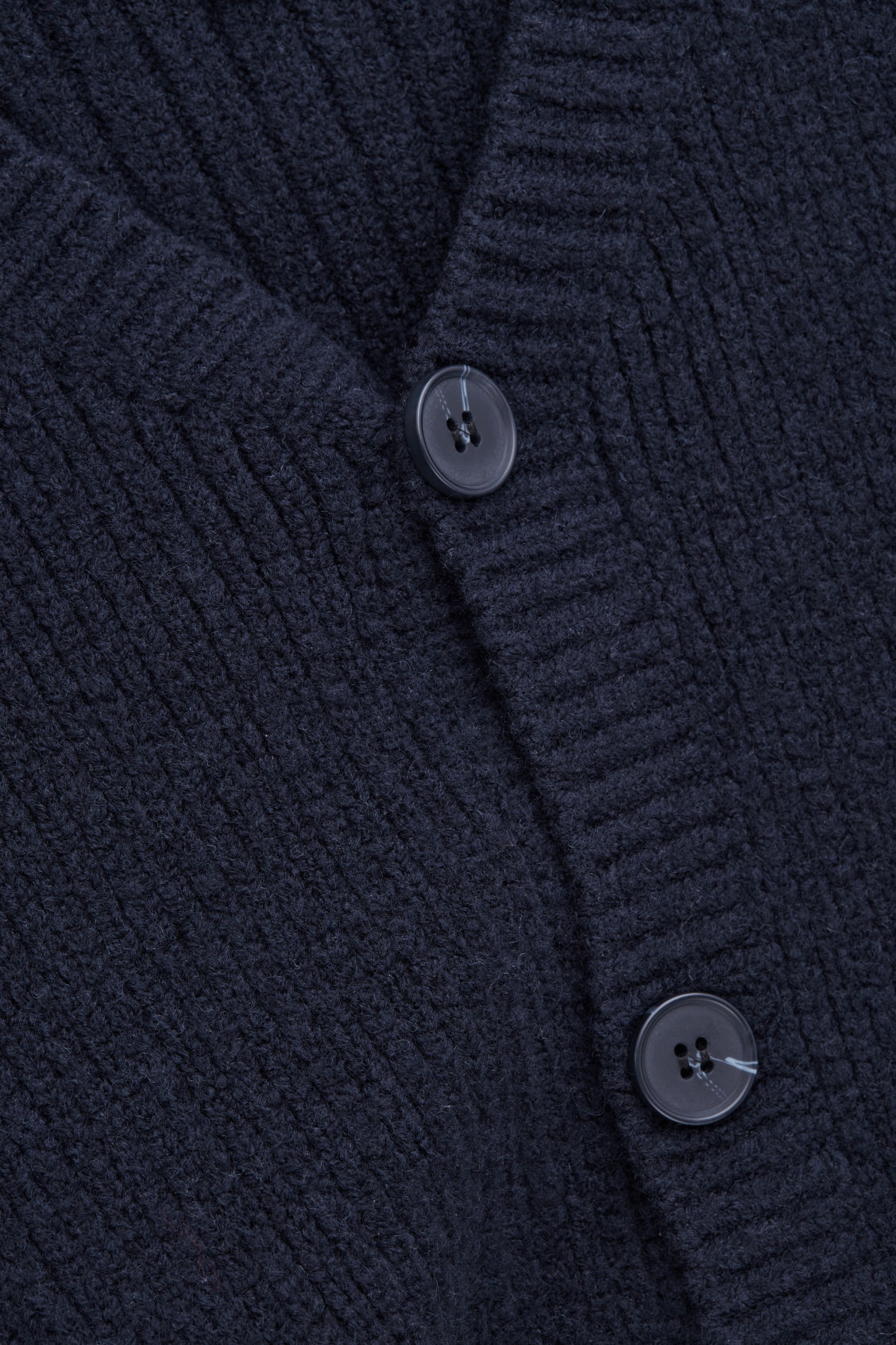 Side image of Cos thick-wool v-neck cardigan in blue