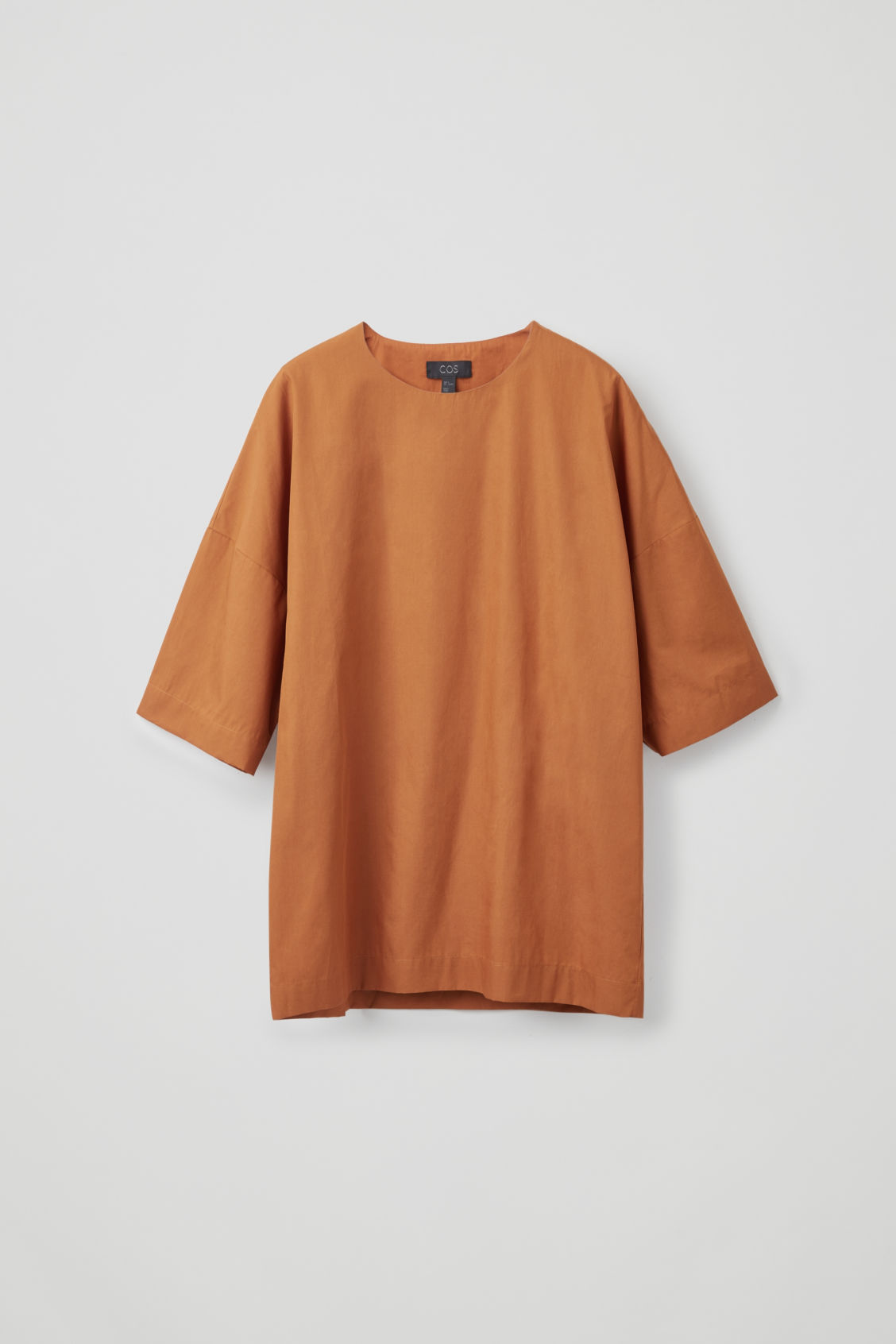 Front image of Cos cotton-poplin oversized top in orange
