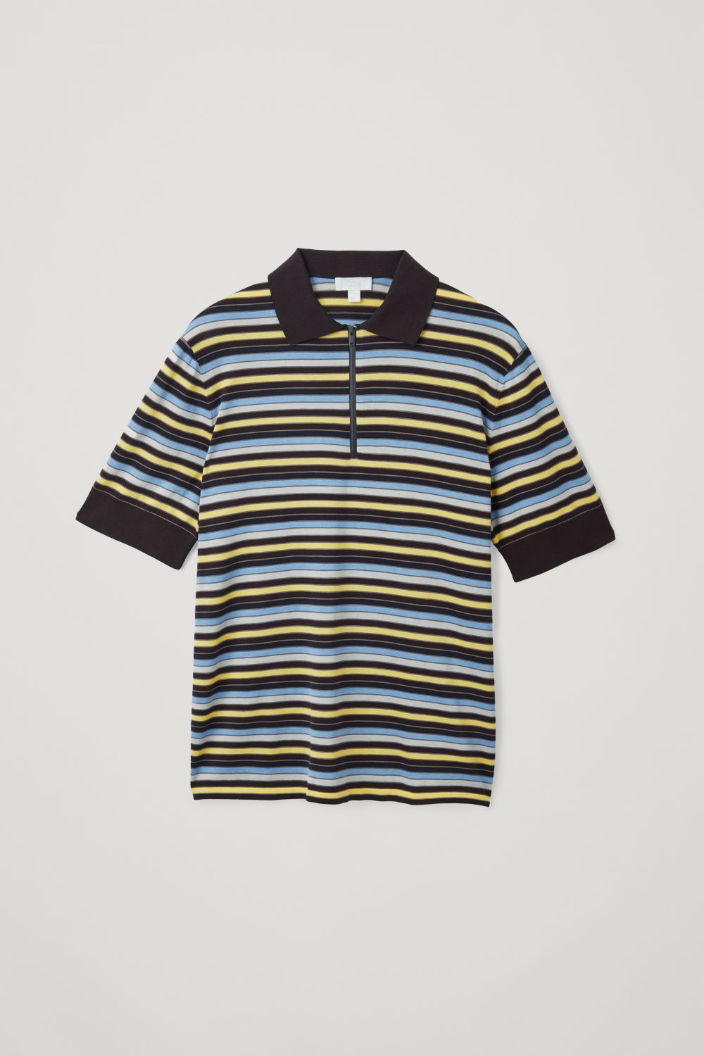 Front image of Cos silk-cotton striped polo shirt in brown