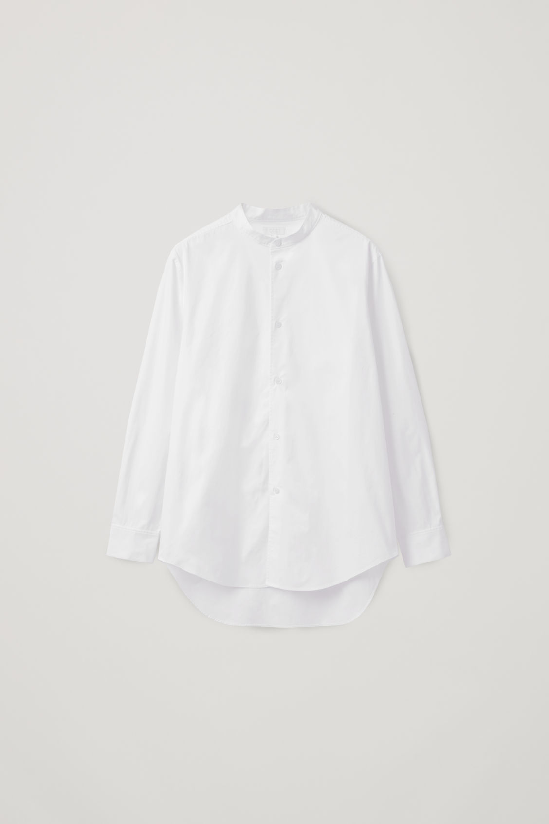 Front image of Cos stepped-hem grandad shirt in white
