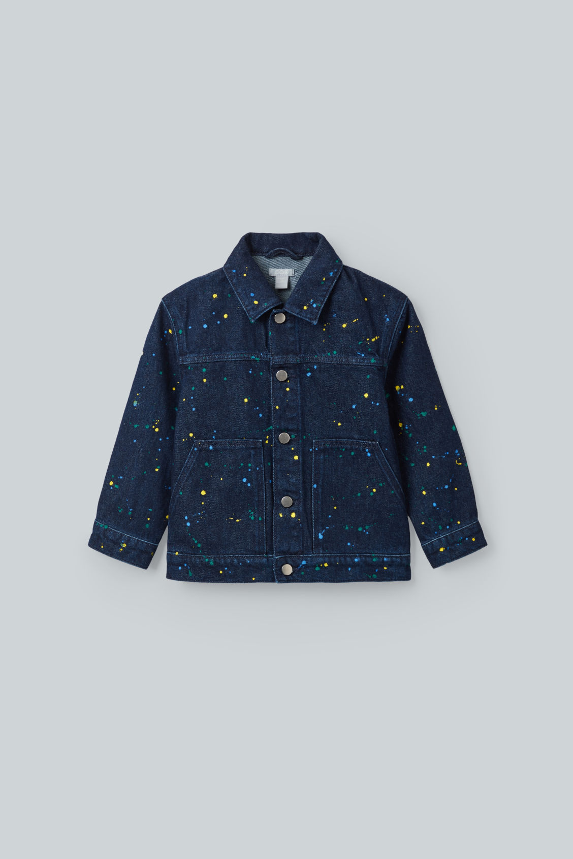 Front image of Cos paint-splat denim jacket in blue