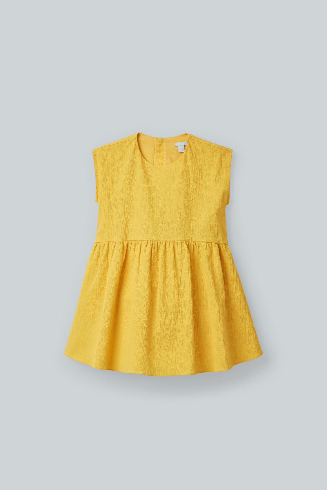 Front image of Cos seersucker circle-cut dress in yellow