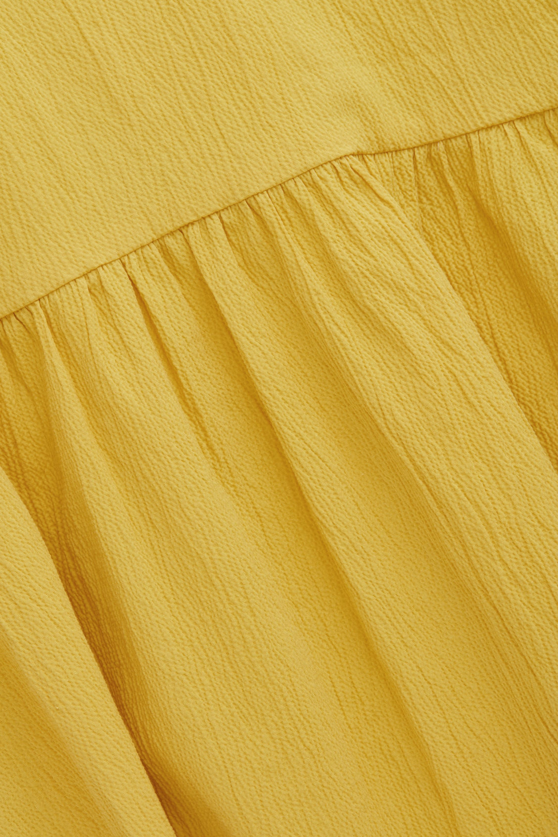 Side image of Cos seersucker circle-cut dress in yellow