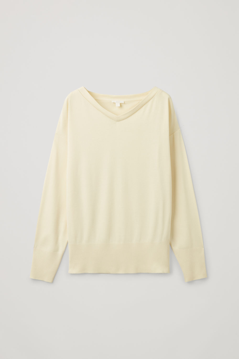 Front image of Cos wide v-neck sweatshirt in yellow
