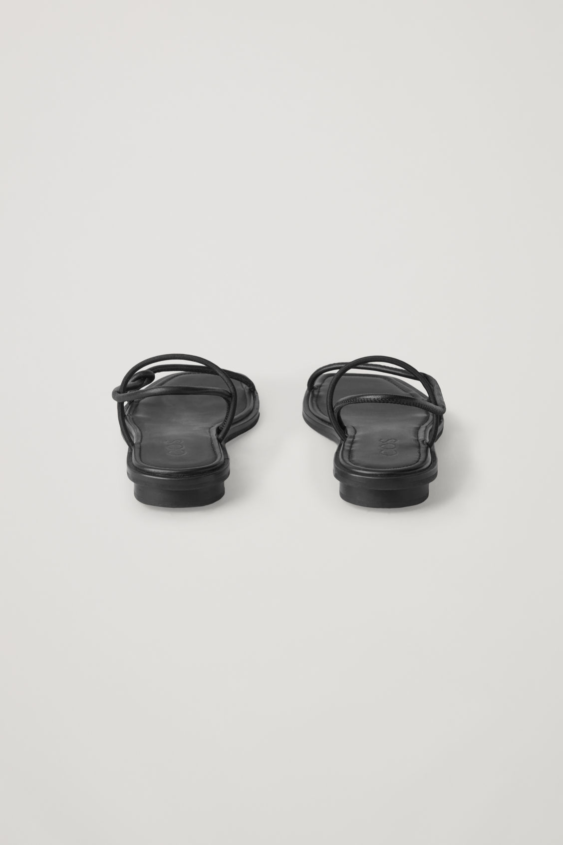 Side image of Cos strappy flat sandals in black