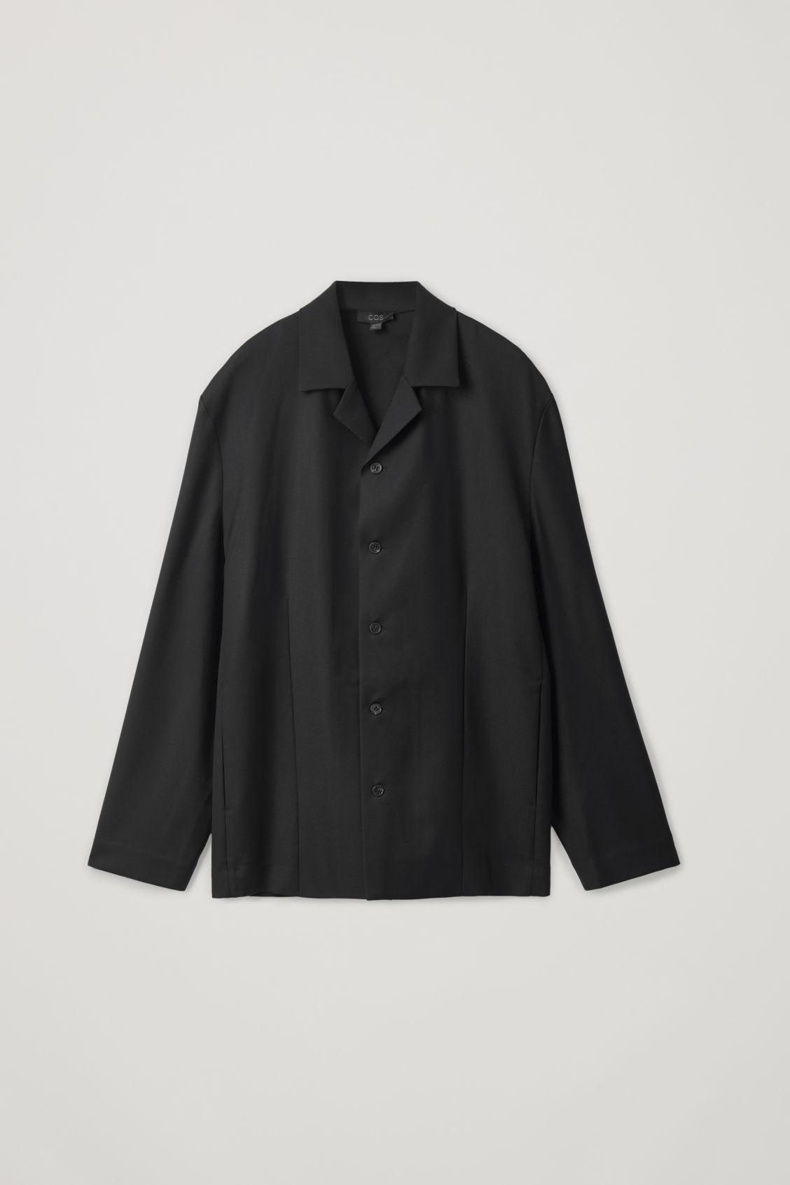 Front image of Cos long-sleeved camp collar shirt in black