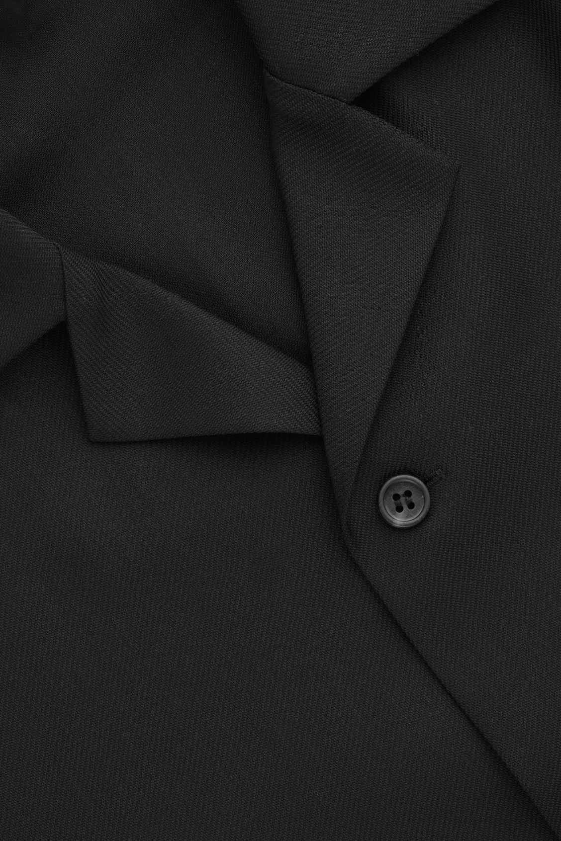 Side image of Cos long-sleeved camp collar shirt in black
