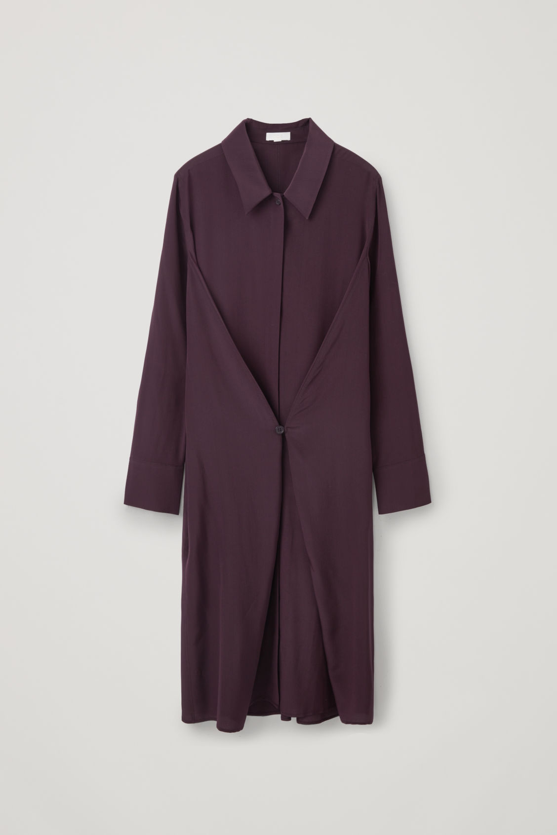 Front image of Cos button-detailed silk shirt dress in burgundy
