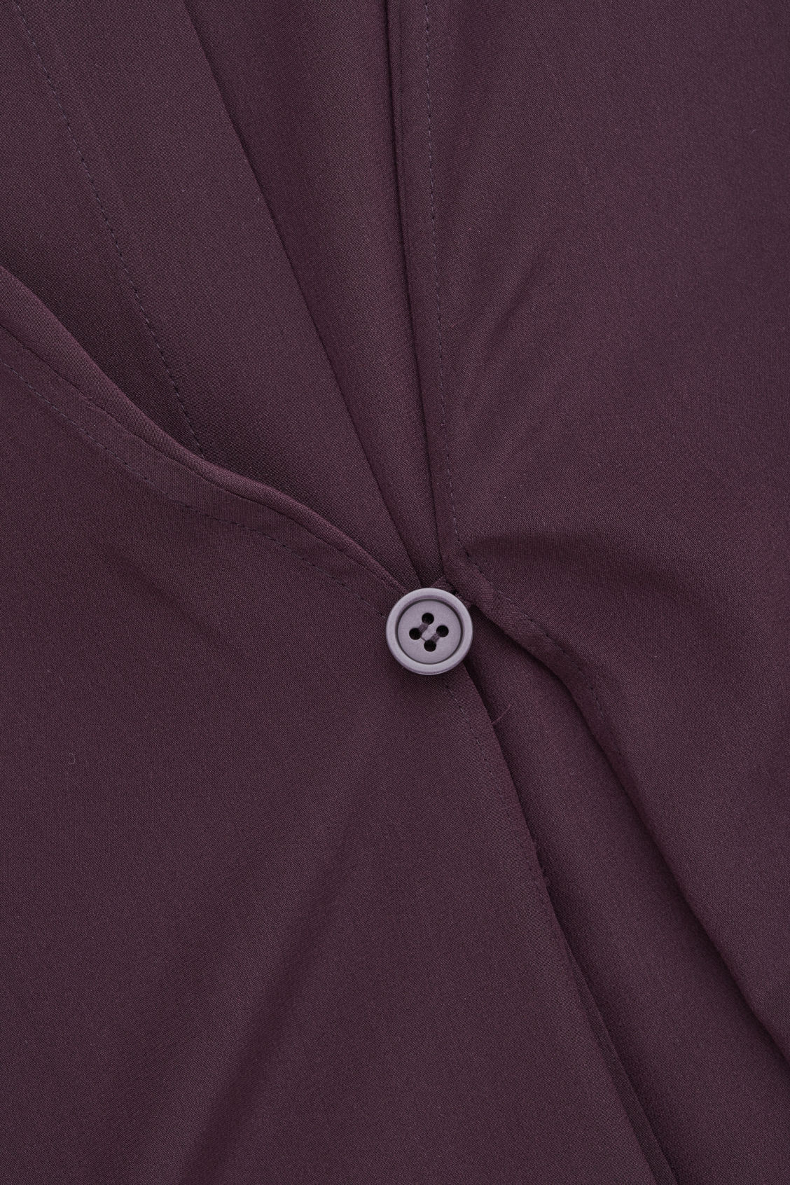 Side image of Cos button-detailed silk shirt dress in burgundy
