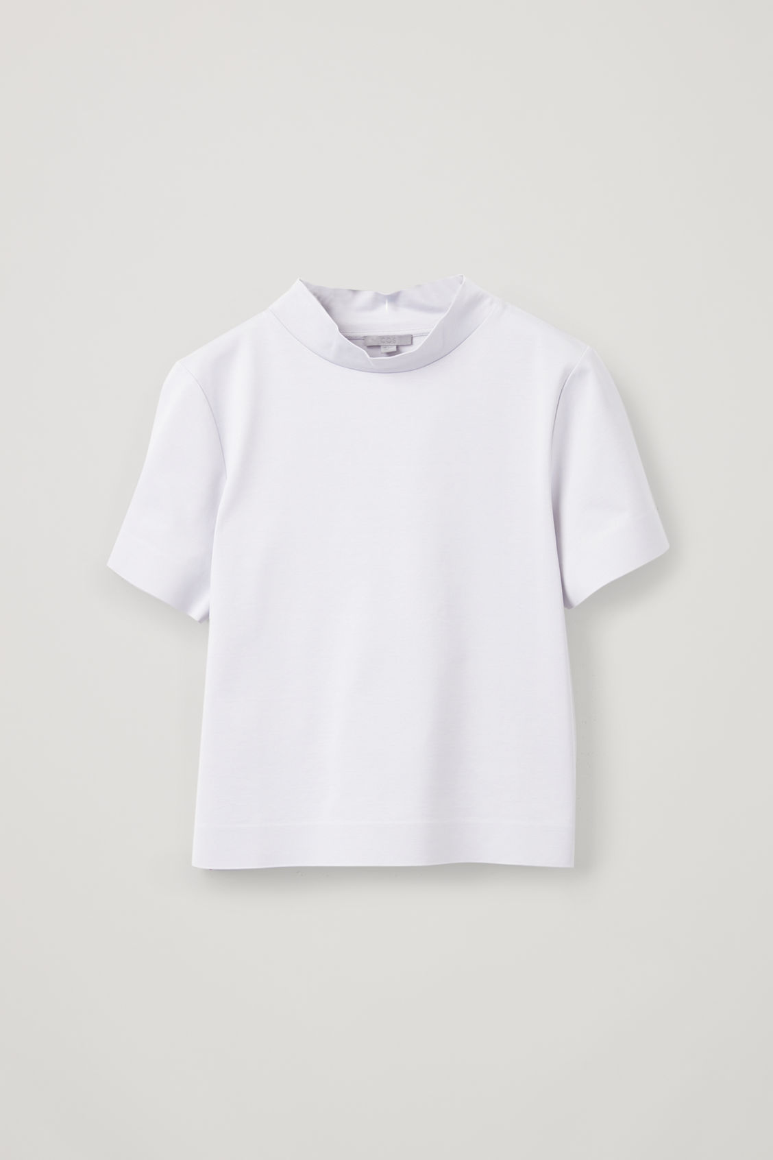 Front image of Cos boxy mock-neck jersey top in grey