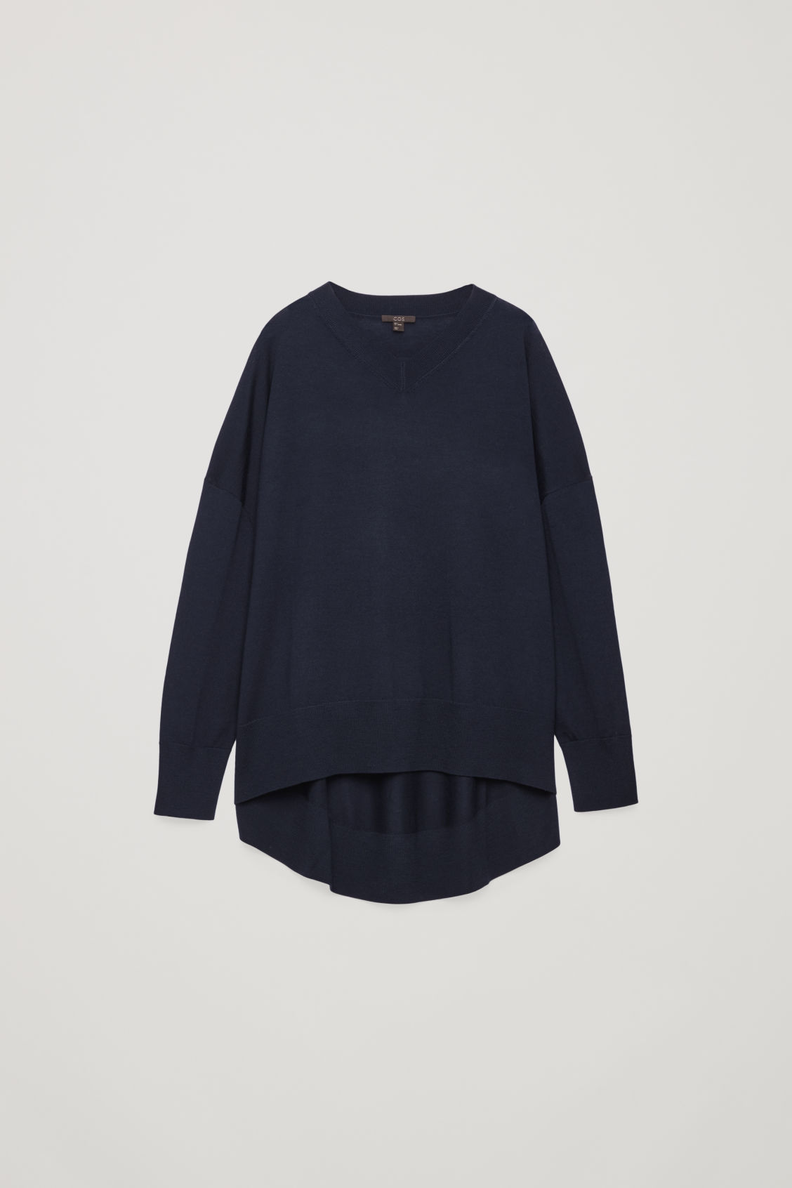 Front image of Cos draped merino v-neck jumper in blue