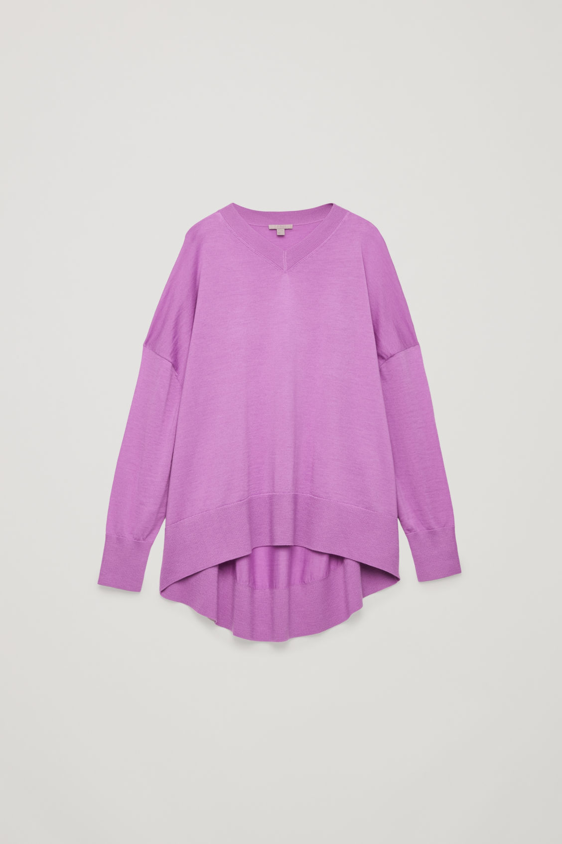 Front image of Cos draped merino v-neck jumper in purple