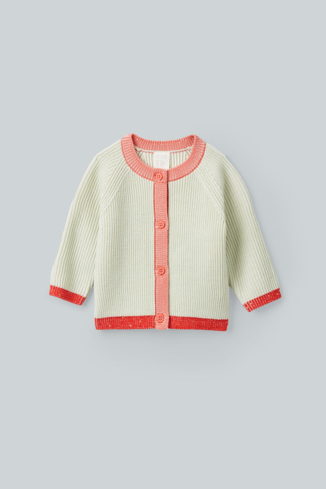 Front image of Cos merino colour-block cardigan in green