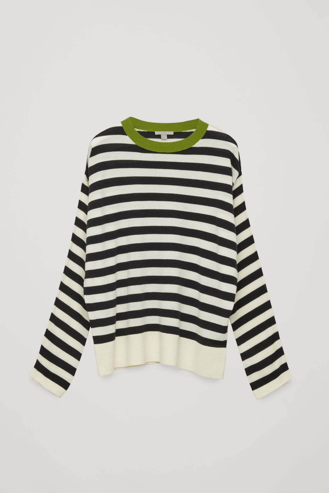 Front image of Cos draped-sleeve merino jumper       in green