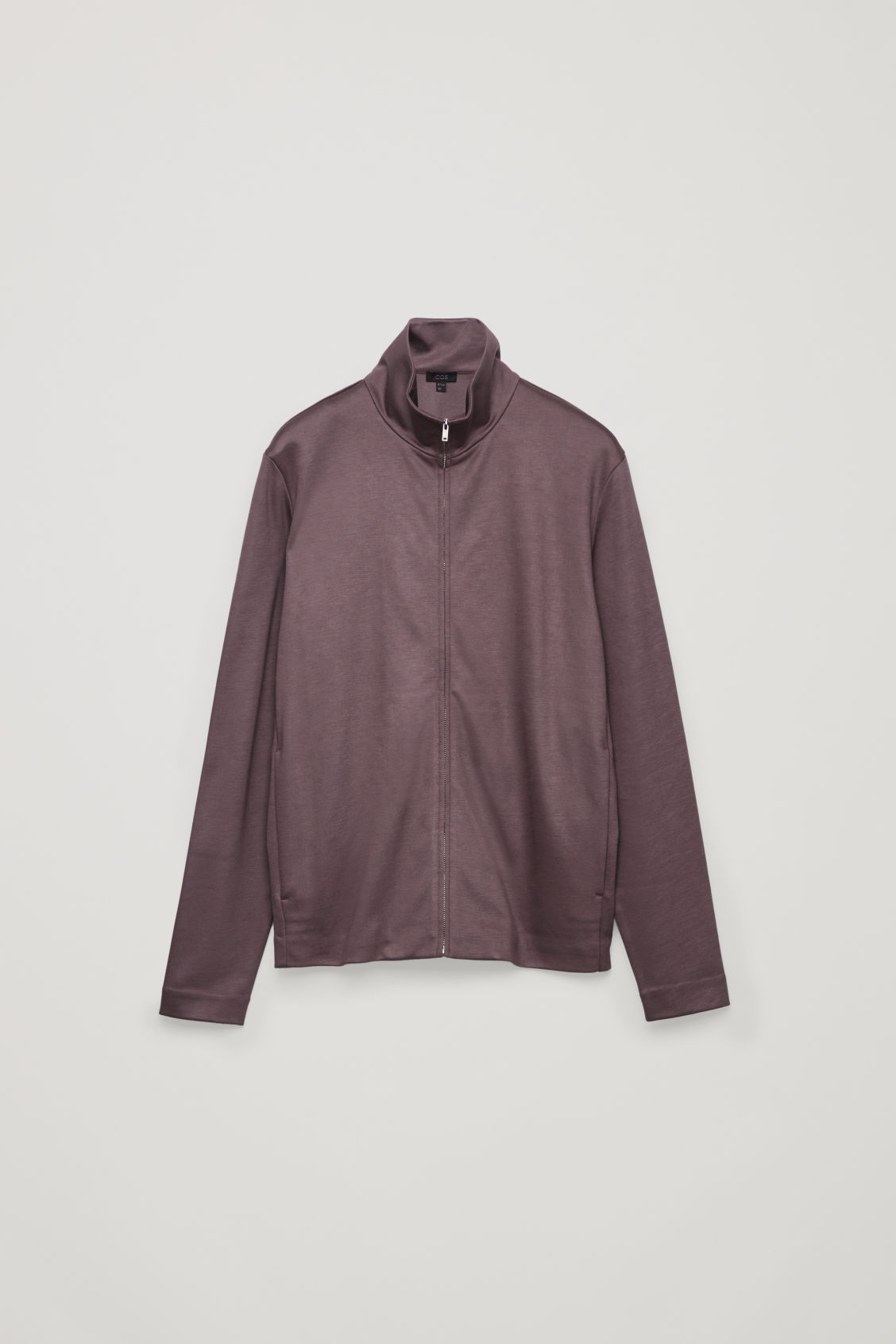 Front image of Cos high-neck cotton cardigan in purple