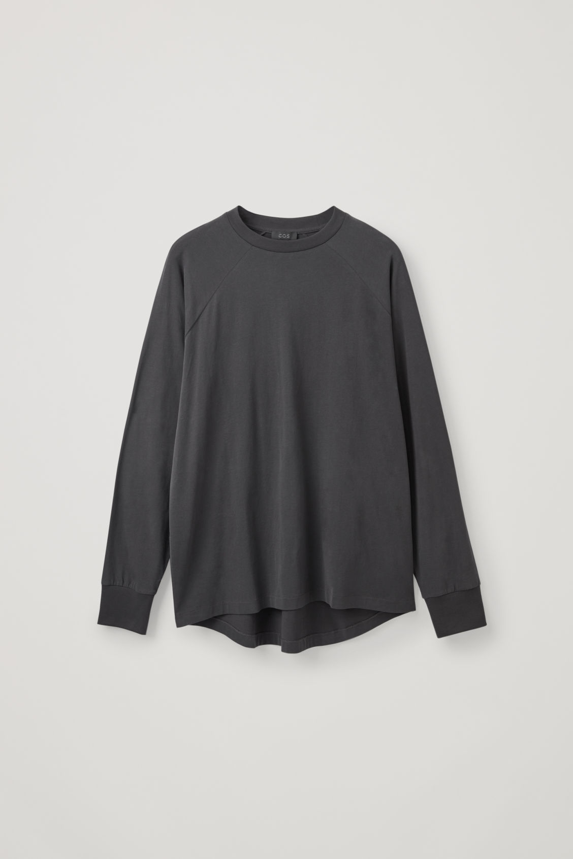 Front image of Cos brushed long-sleeved sweatshirt in black