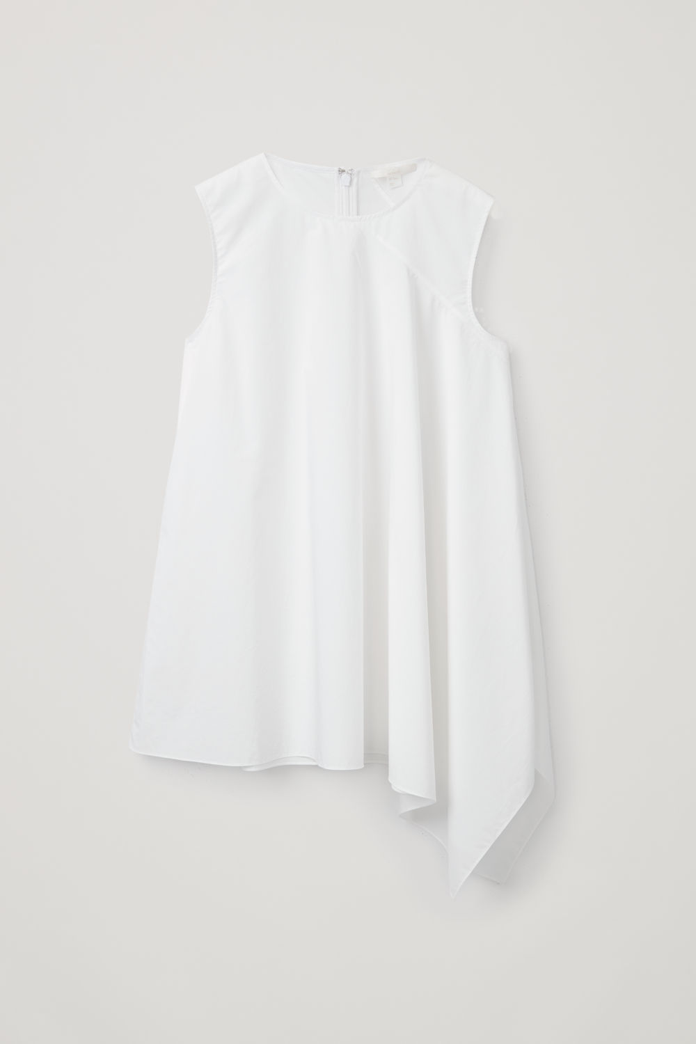 Front image of Cos asymmetric cotton top in white